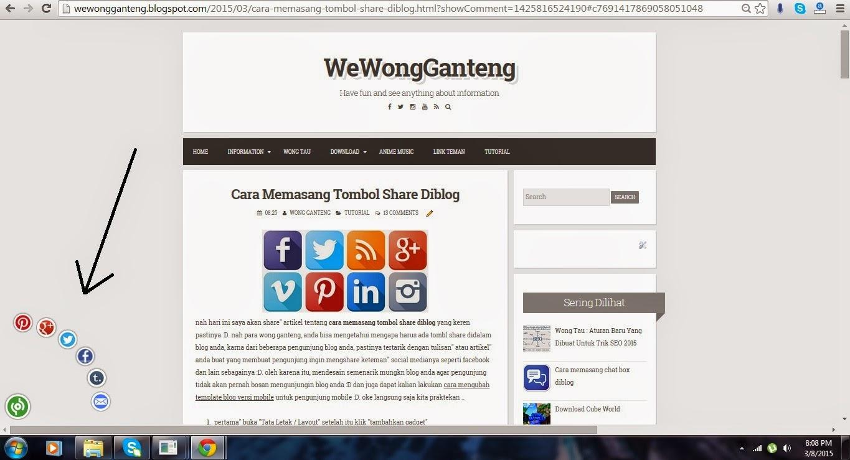 Cara Memasang Tombol Share Diblog