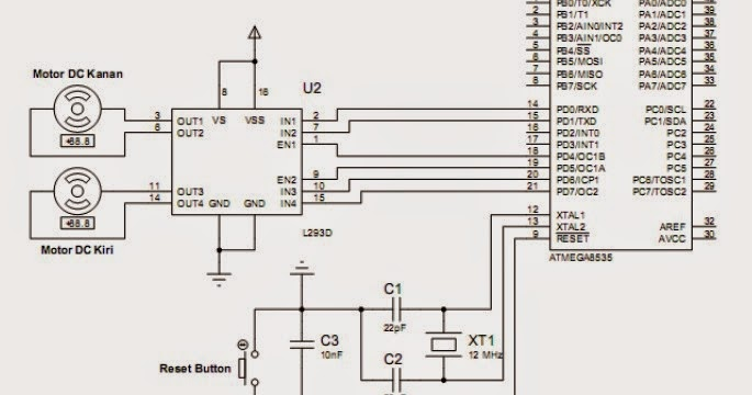 interface driver dc motor using l293d with atmega8535 circuit schematic for fire extinguisher