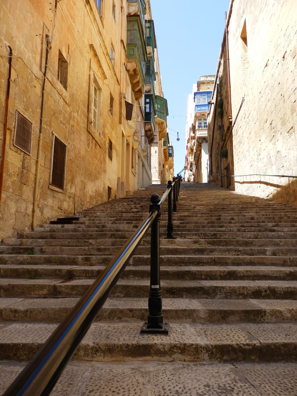 Steep stepped streets in Valletta, Malta