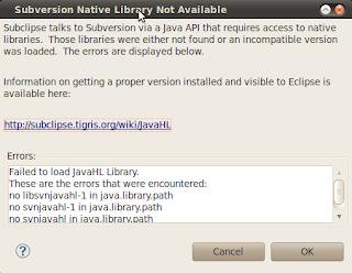 Imagen de mensaje de error de JavaHL en eclipse