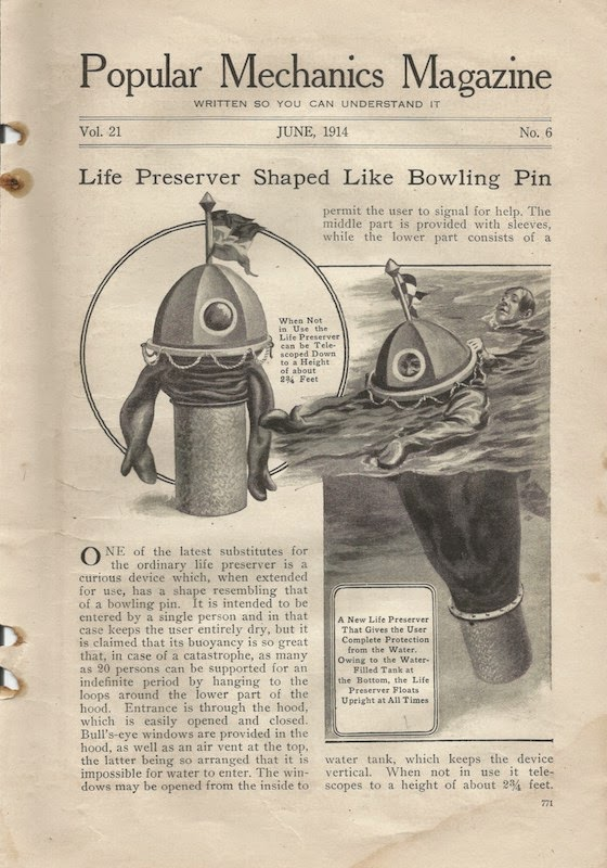 popular mechanics, 1914 life preserver