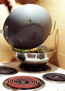 Removing Veggies from Wok into Stainless Steel Pan