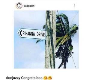 Don Jazzy congratulates Rihanna