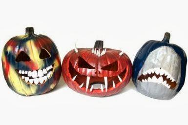 pumpkins with fake plastic teeth