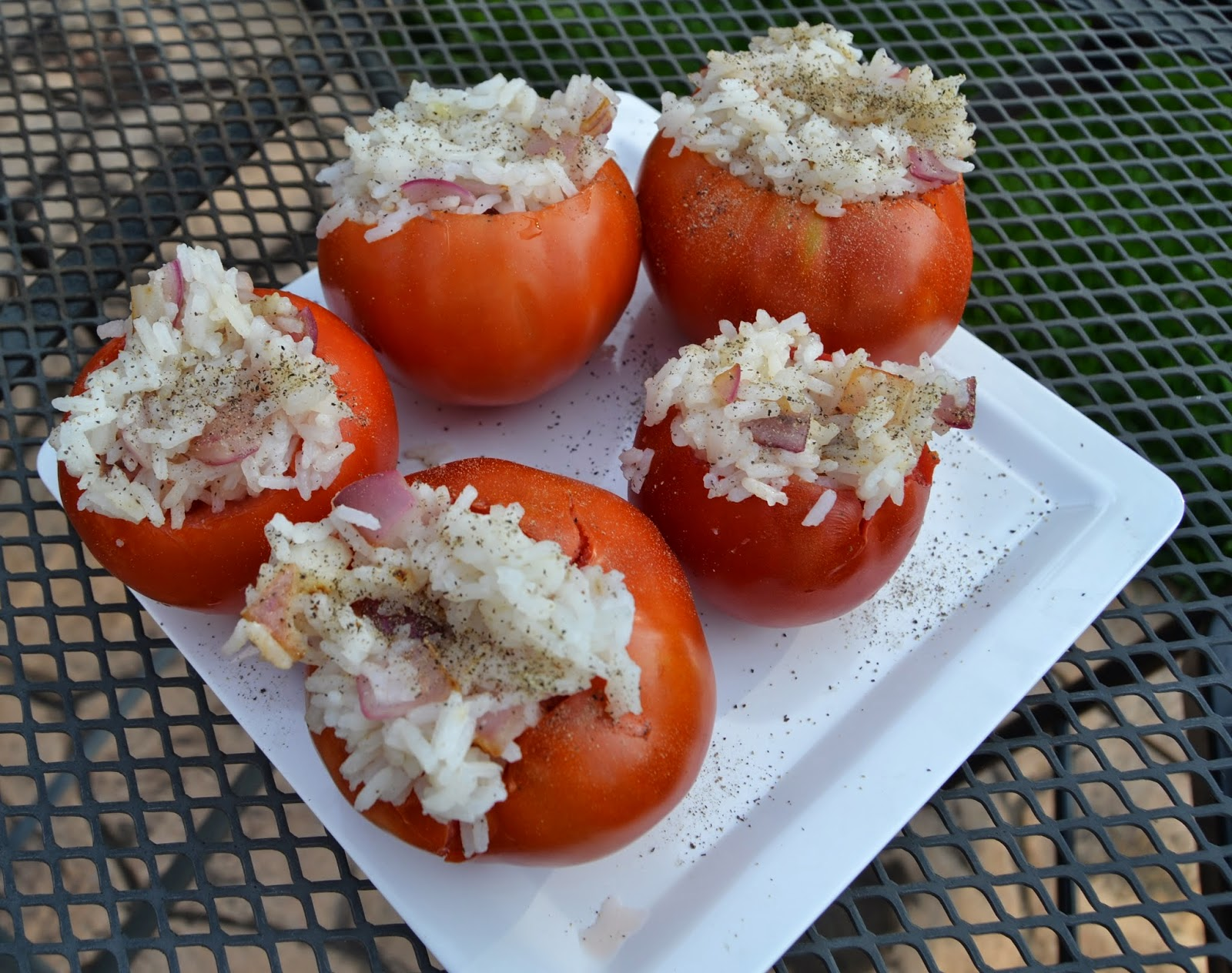 Grilled Lemon & Rice Stuffed Tomatoes
