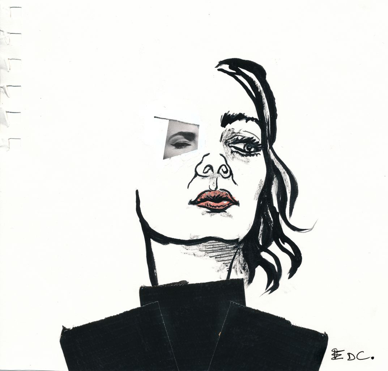 Pin dessin visage femme profil noir blanc galerie creation - Dessin profil visage ...