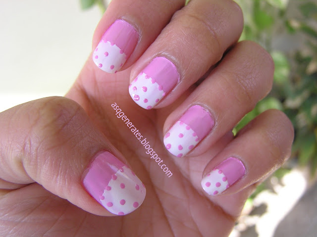Half Moon Polka Dot Manicure -Nail Art photograph