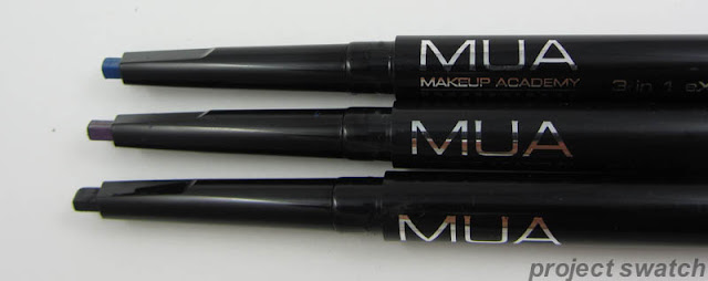 MUA 3-in-one Contour Pen -- Black, Smoked Plum, Sea Blue