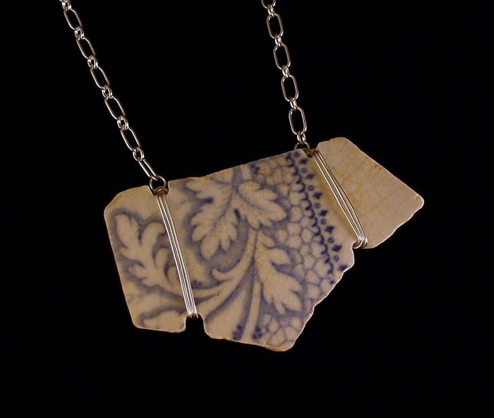 Early 1800's powder blue English transferware china shard from the ...