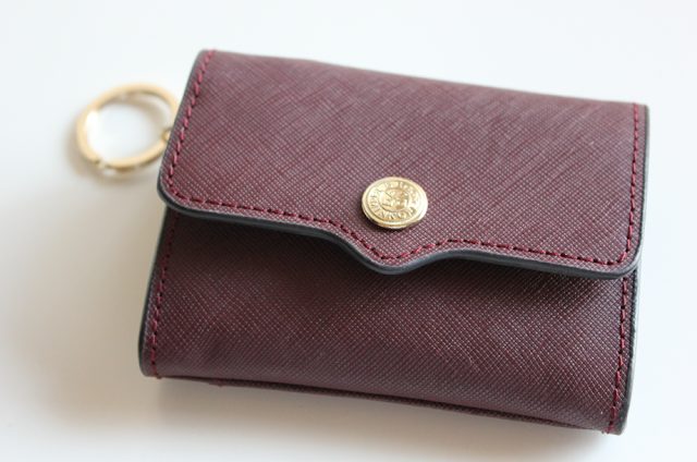 Rebecca Minkoff Molly Metro Holder Wallet Keychain Key Ring Wine Red