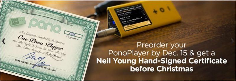 PonoPlayer Zertifikate mit Neil Youngs Unterschrift