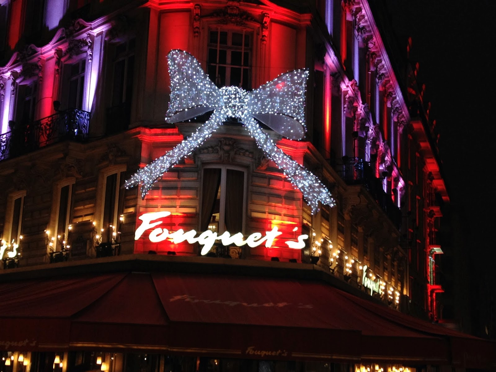 Fouquet's holiday lights, Champs-Elysées, Paris