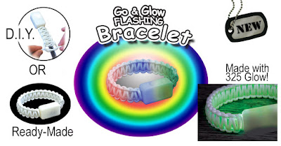 Colorful Flashing Bracelet made from Glow In The Dark Paracord