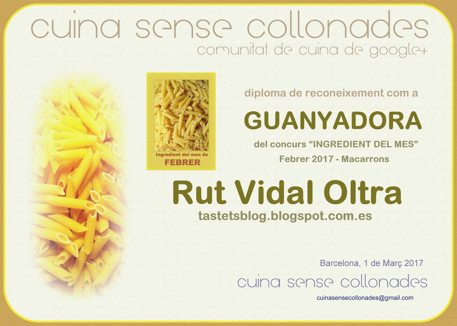 """Guanyadora del concurs """"Ingredient del mes, macarrons"""" de Cuina sense collonades el febrer de 2017"""