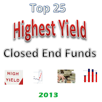 Top 25 Highest Yield Closed End Funds 2013