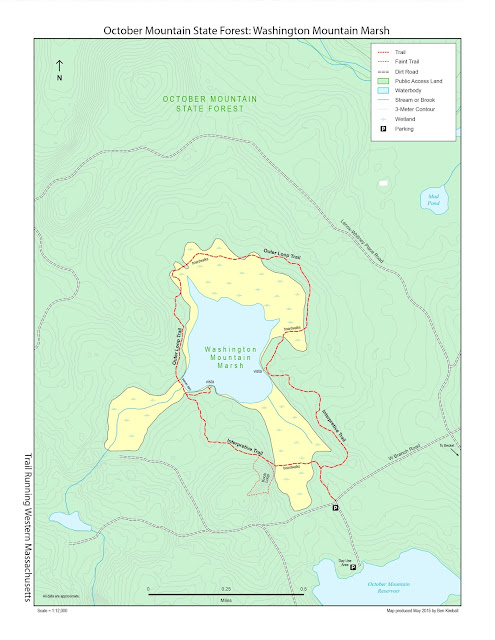 trail map for Washington Mountain Marsh in western Massachusetts