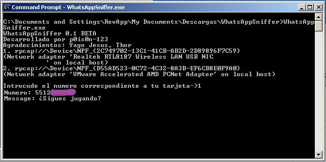 Whatsapp sniffer password - 0027a