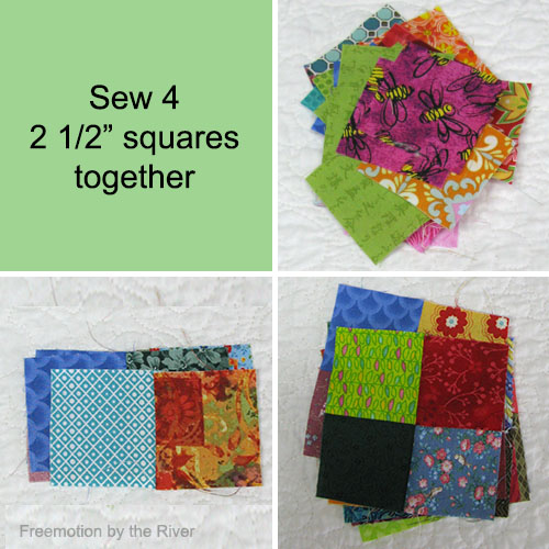 Sewing scraps together at Freemotion by the River