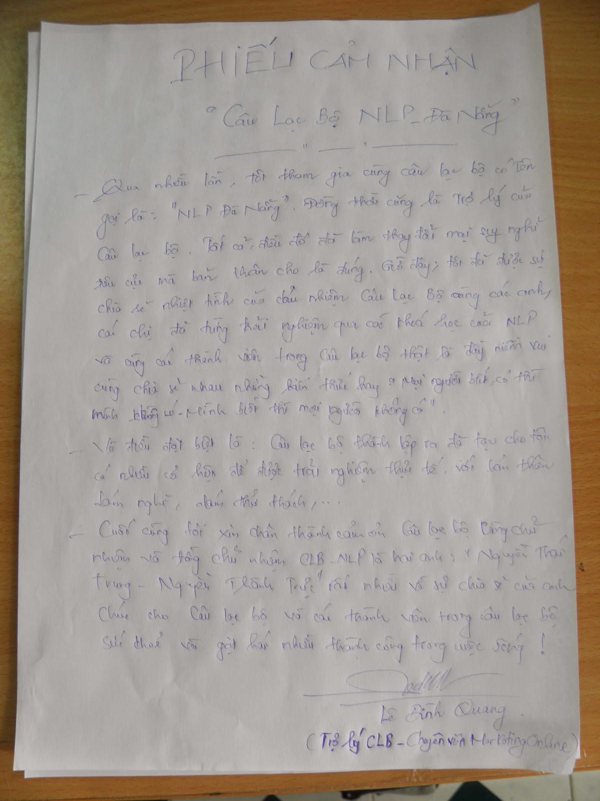 Lê Đình Quang Viết Cảm Nhận Khi Tham Gia CLB NLP Đà Nẵng