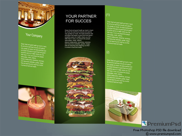 Free Fast Food Restaurant tri-flod Brochure - PSD files