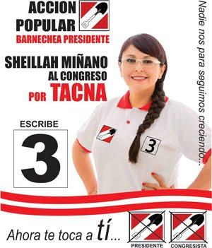 Sheillah Miñano, candidata N° 3 por Tacna de ACCION POPULAR