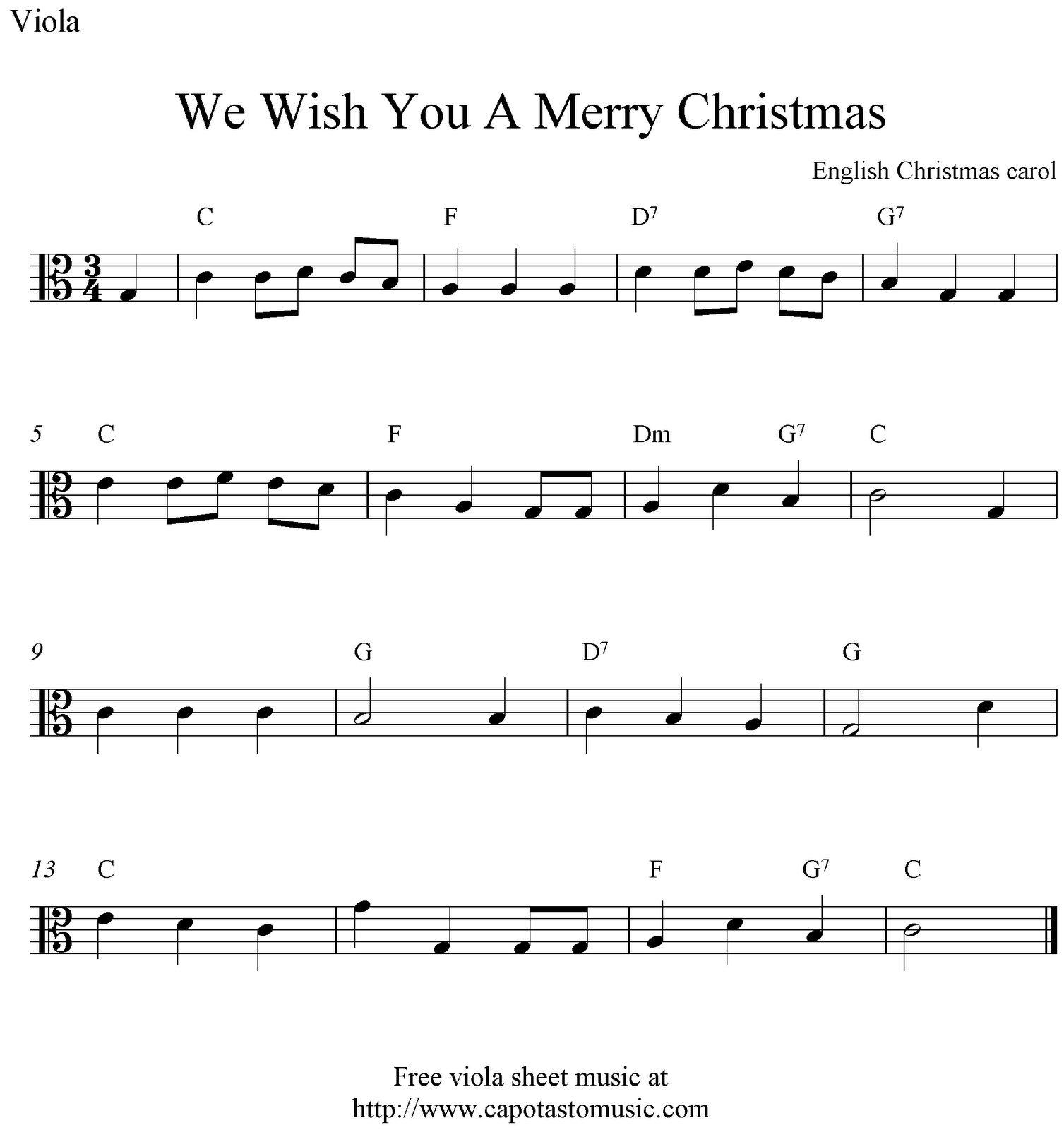 Free Easy Christmas Viola Sheet Music, We Wish You A Merry