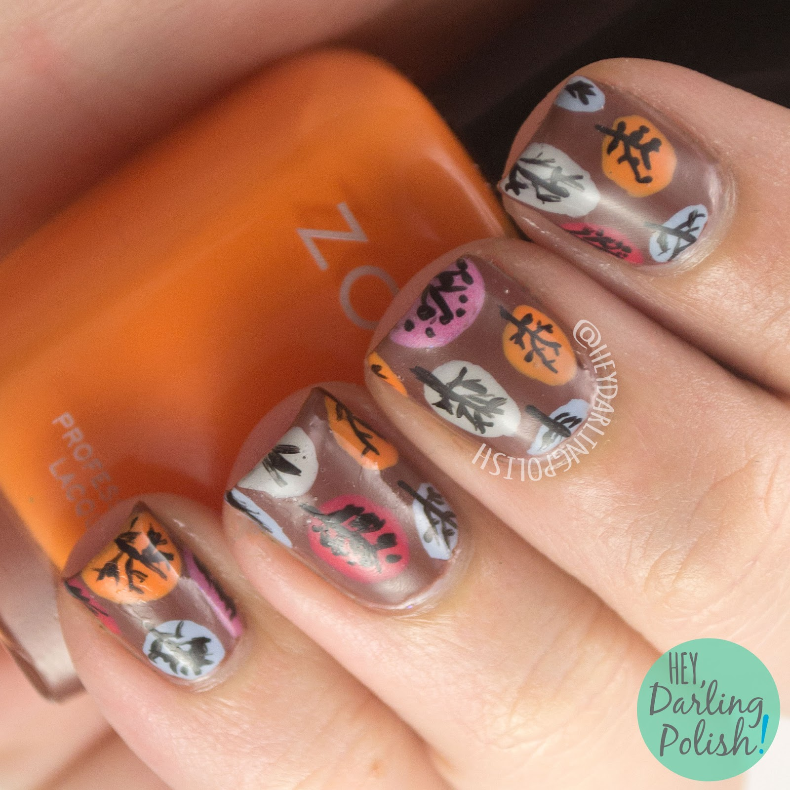 nails, nail art, nail polish, autumn, fall, autumn nail art, fall nail art, hey darling polish, theme buffet, trees