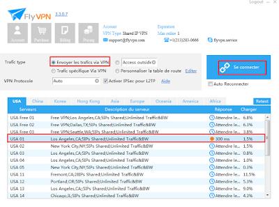 Sélectionner un serveur VPN