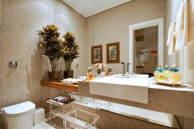 Banheiros claros branco e bege  veja modelos modernos e dicas!  DecorSalteado -> Decoracao De Banheiro Na Cor Bege
