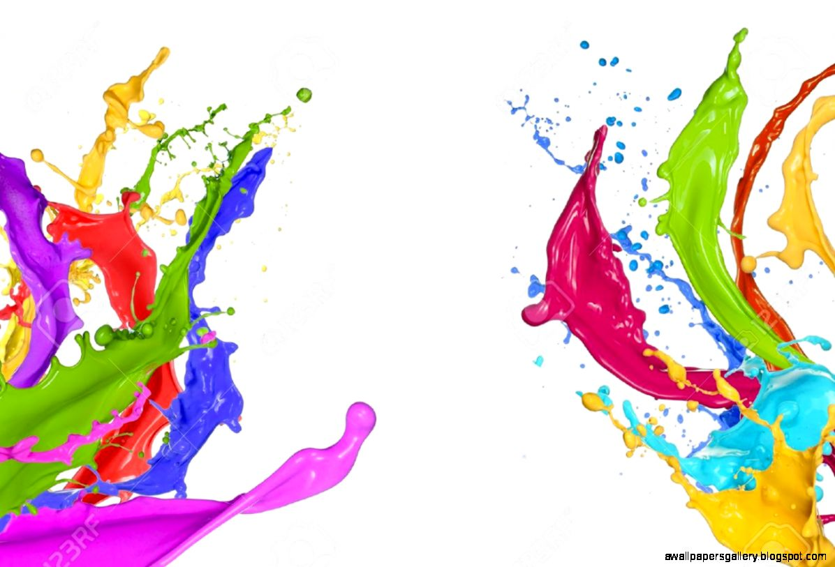 Colorful Paint Splatter On White Background Wallpapers