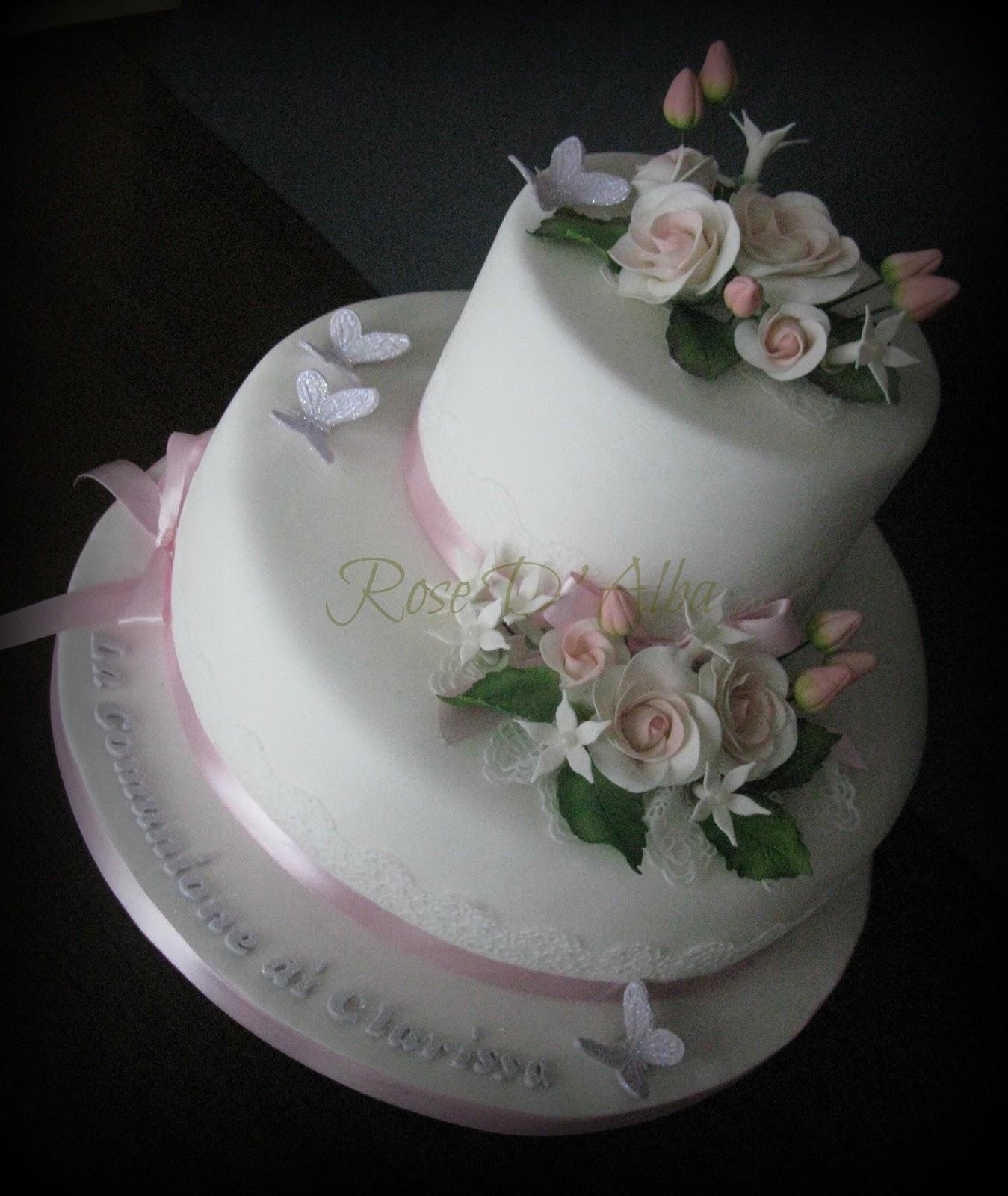 Très ROSE D' ALBA cake designer: Una torta raffinata per la Comunione  ZJ66