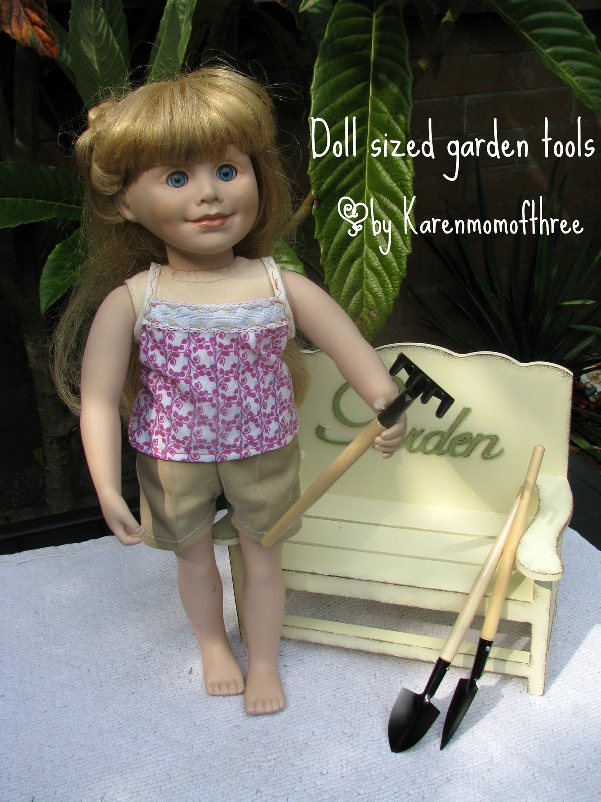 Karen mom of three 39 s craft blog doll sized gardening for Garden tools for 18 inch doll