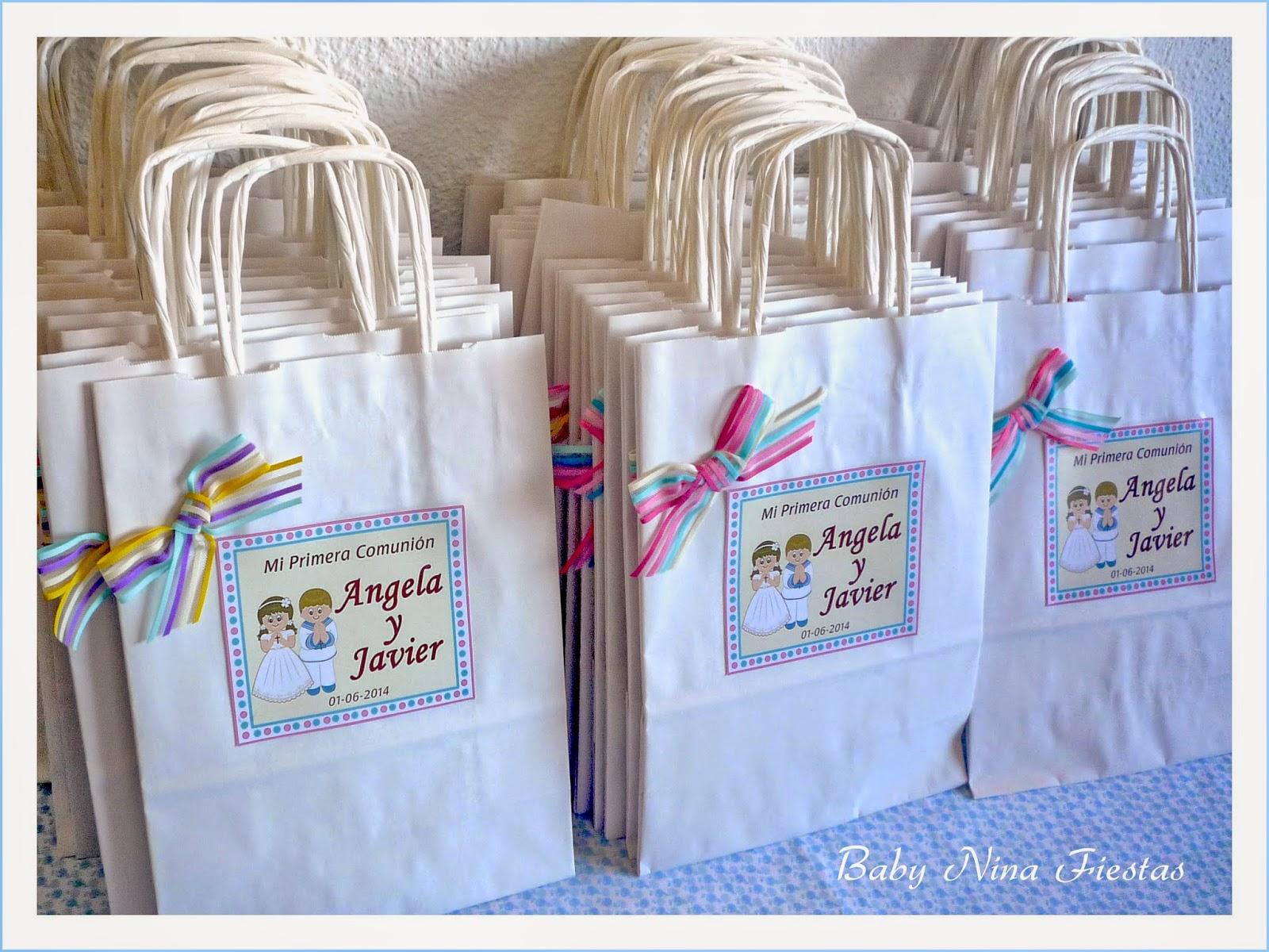 Baby nina fiestas bolsas personalizadas y recordatorios - Bolsas de regalo personalizadas ...