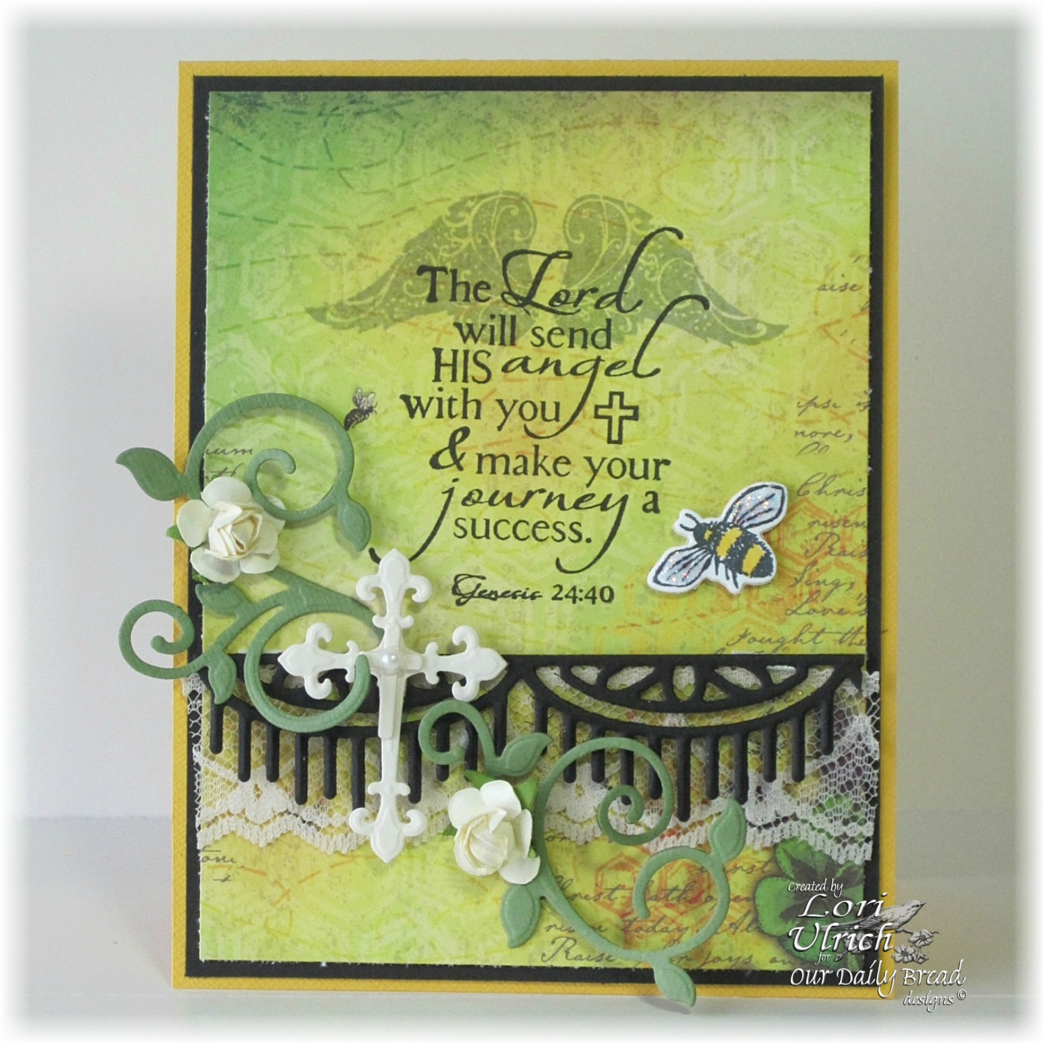 Stamps - Our Daily Bread Designs Zinnia, Holy Angels, ODBD Custom Zinnia and Leaves Die, ODBD Custom Fancy Foliage Die, ODBD Custom Ornamental Crosses Die, ODBD Custom Beautiful Borders Die, ODBD Blooming Garden Paper Collection