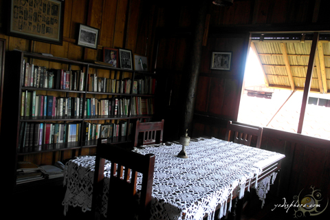 Room where old book collections are on display at Dona Aurora house in Baler Quezon