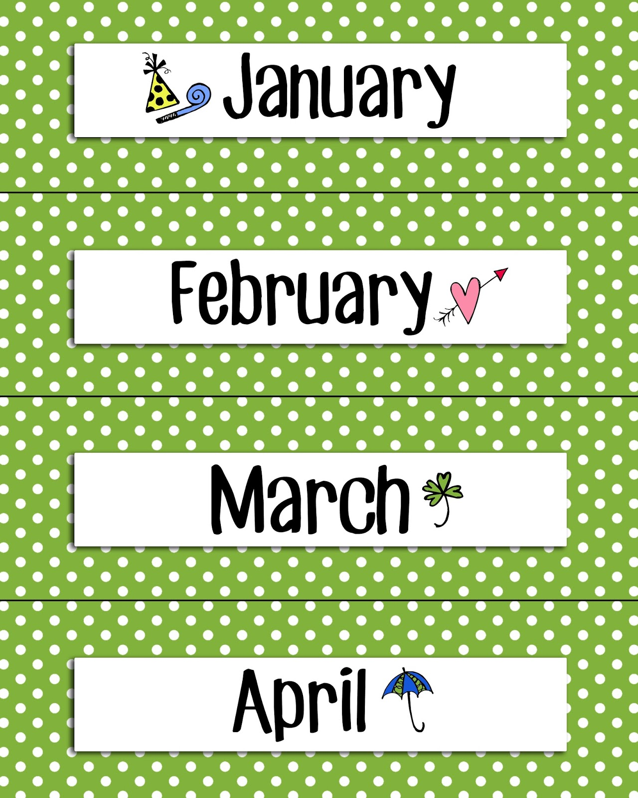 Calendar Monthly Headers : Magic markers calendar headers