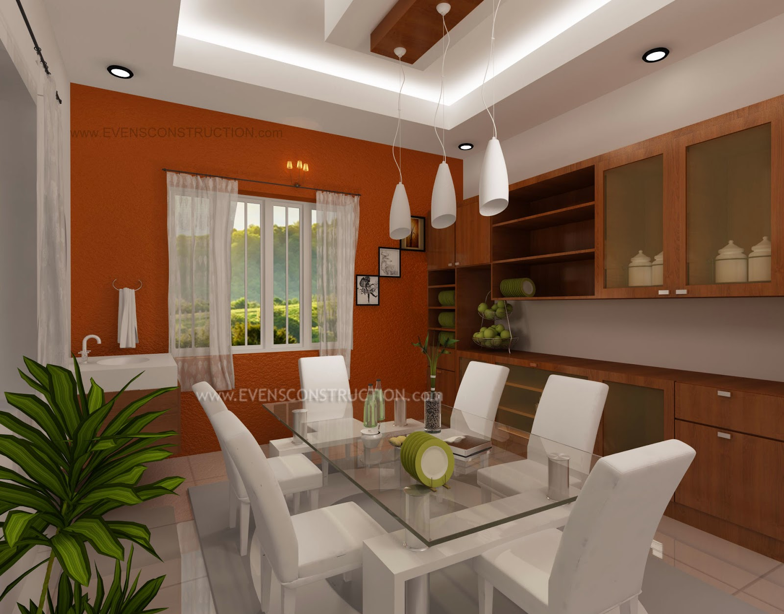 Dining Area With Cabinets Room Designed For Modern Kerala House