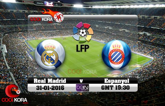 مشاهدة مباراة ريال مدريد وإسبانيول اليوم 31-1-2016 في الدوري الأسباني