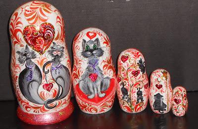 "Author's nesting dolls matryoshka in russian folk style khokhloma modern handmade with the funny Cats. Set of 5 puppets a tall matryoshka dolls largest ~ 5.9"" (15 sm)."