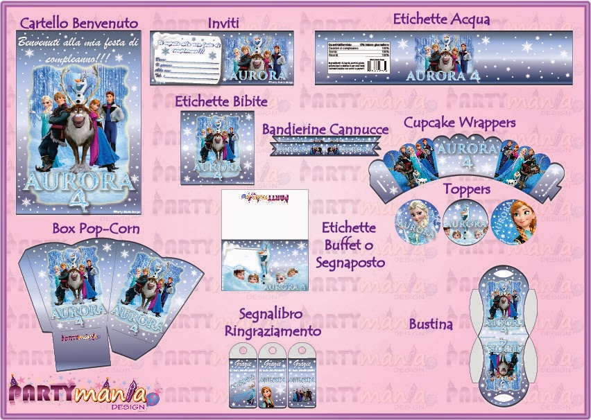 "Famoso Party Mania design: Stampabile per feste tema ""Frozen"" EO19"