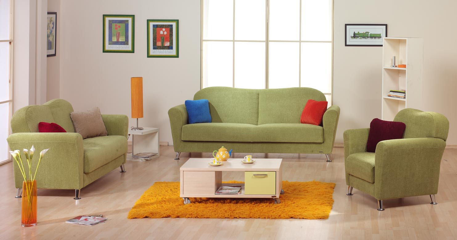 Contemporary green living room theme decoration