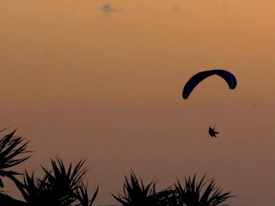 Paragliders at sunset from home, May 2011