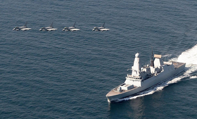 HMS Defender and Typhoon aircraft train of UK