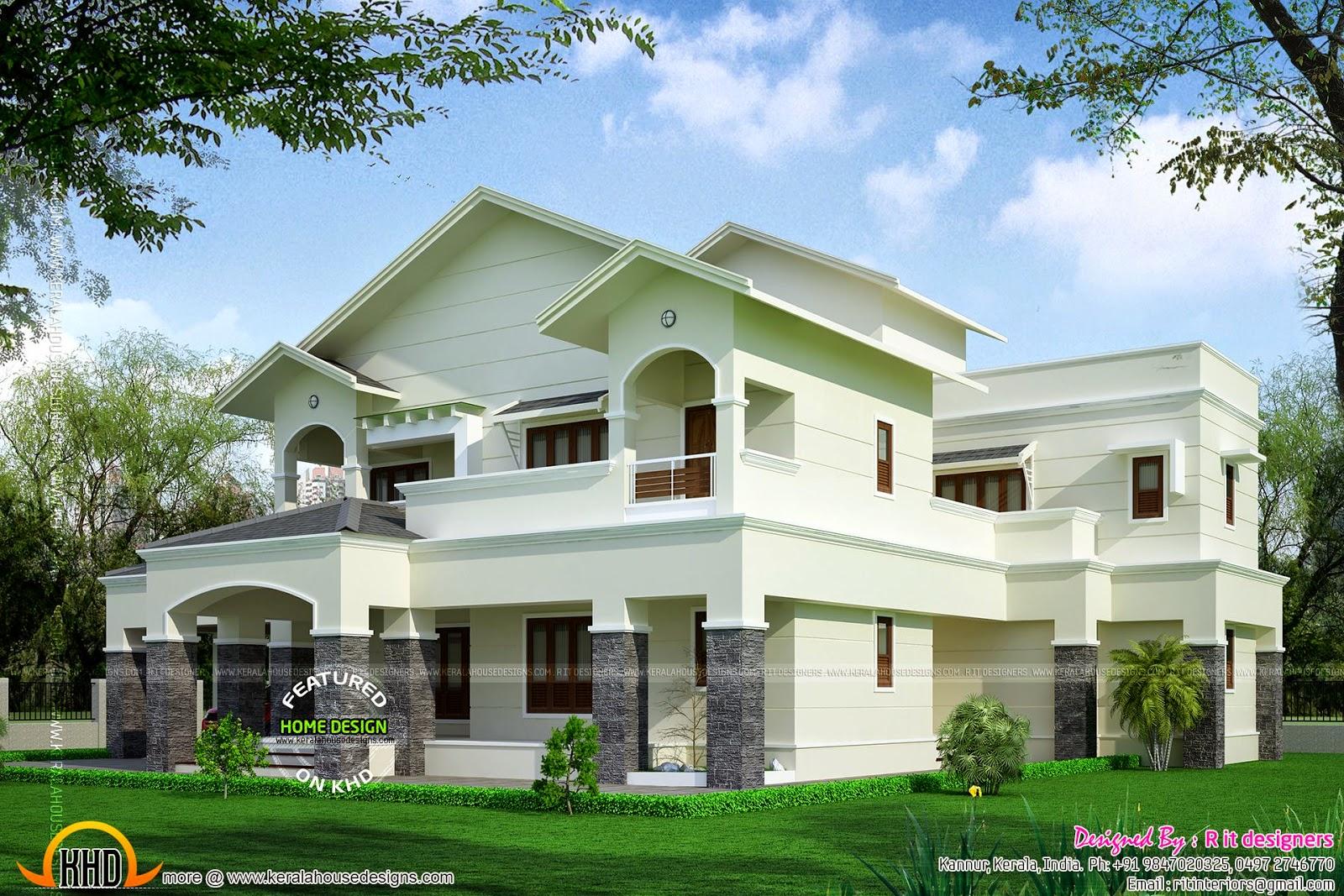 Modern sloped roof luxury house