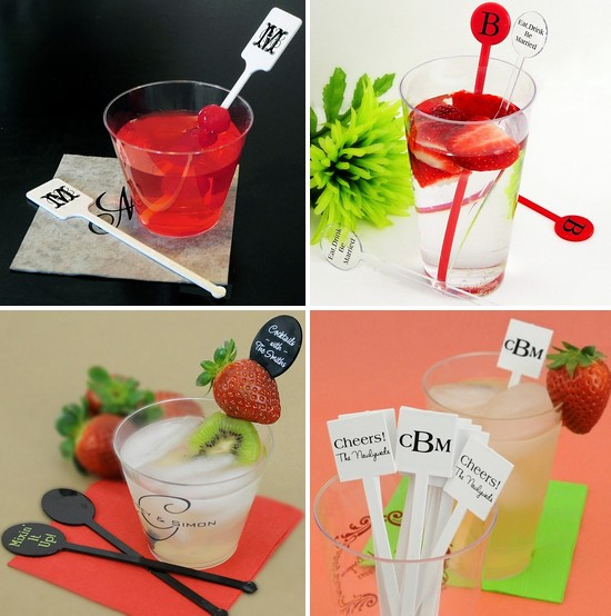 Personalized swizzle sticks for your wedding