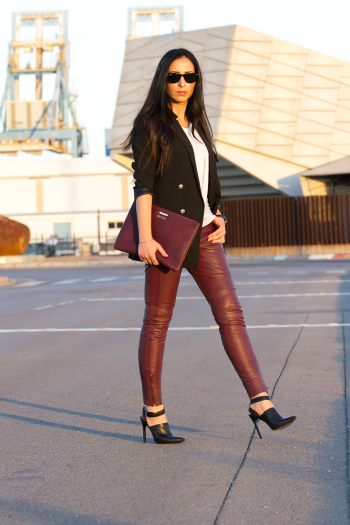 Verona Leather Trousers in Berry Muubaa