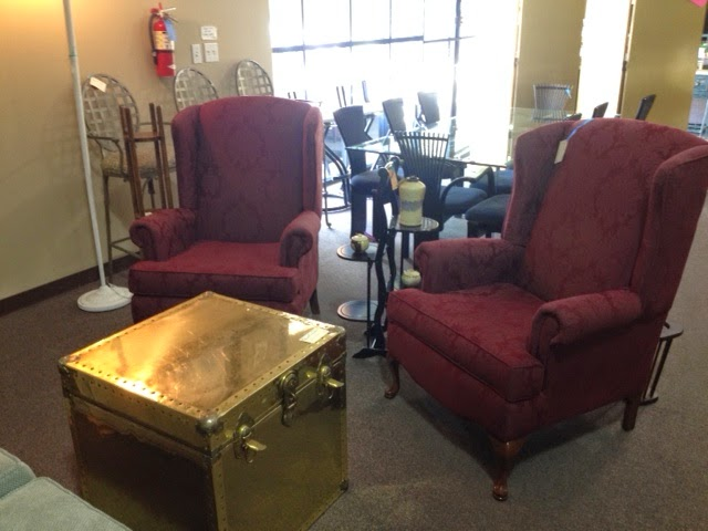 Superieur Pair Of Burgundy Wingback Chairs.