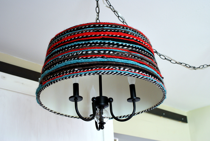 DIY Yarn Wrapped Lampshade