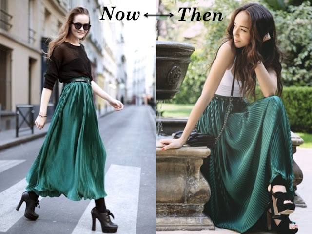 emerald pleated maxi skirt