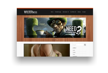 Wilderness  Blogger Template with Slider, dropdown menu,  by Sora Template